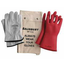 """Linemen Class 00 Insulating Glove Kit, 11"""", Red, Size 10"""