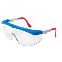 MCR Safety TK1 Series Safety Glasses, Side Shields, Blue Frame, Red/White Temple, Clear Lens