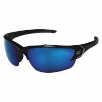 Edge Eyewear® Khor (TSDKAP218) Safety Glasses, Black Frame, Polarized Aqua Precision Blue Mirror Lens