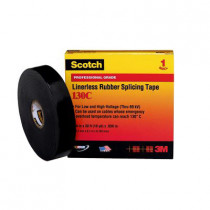 Scotch® 130C Linerless Premium Grade Insulating and Splicing Tape 12 per CS -  2 in W x 30 ft Roll L -  30 mil THK -  Black
