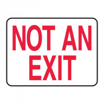 Accuform® MEXT911VP Fire No Exit Sign -  10 in H x 14 in W -  Red on White -  Surface Mount -  Plastic