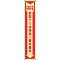 "Fire Extinguisher Sign, Photo-Luminescent, 18"" x 4"""