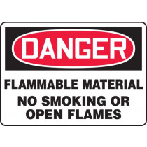 OSHA Danger Safety Sign: Flammable Material No Smoking Or Open Flames