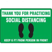 "Slip-Gard™ Floor Sign: Thank You For Practicing Social Distancing, 12"" x 18"""