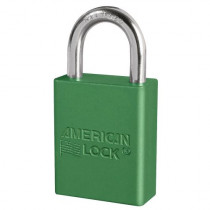 "American Lock® A1105GRN Aluminum Safety Lockout Padlock, 1/4"" Shackle, Green"
