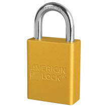 "American Lock® A1105YLW Aluminum Safety Lockout Padlock, 1/4"" Shackle, Yellow"