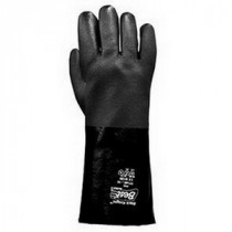 Black Knight® 7714R-10 Lined Chemical Resistant Gloves -  SZ 10 -  L -  Black -  PVC