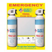 Bio Logic Aqua Research Technologies International Inc. Bio Med Wash® Double 7 oz. Cans Sterile Skin & Eye Wash First Aid Station