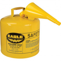 Eagle Manufacturing UI-50-FSY Type I Safety Can With F-15 Funnel -  5 gal -  12-1/2 in Dia x 13-1/2 in H -  Galvanized Steel
