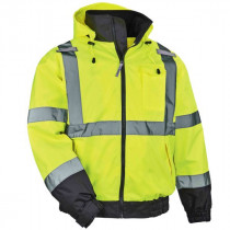 GloWear® 8379 Thermal High Visibility Jacket, Class 3, Fleece-Lined Bomber, Lime
