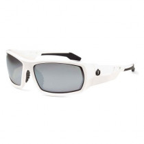 Skullerz® Odin Safety Glasses/Sunglasses, White Frame, Silver Mirror Lens Color