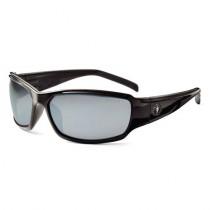 Skullerz® Thor Safety Glasses/Sunglasses, Black Frame, Silver Mirror Lens Color