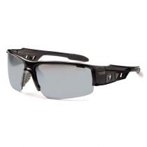 Skullerz® Dagr Safety Glasses/Sunglasses, Black Frame, Silver Mirror Lens Color