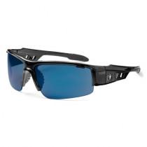 Skullerz® Dagr Safety Glasses/Sunglasses, Black Frame, Blue Mirror Lens Color