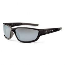 Skullerz® Kvasir Safety Glasses/Sunglasses, Black Frame, Silver Mirror Lens Color