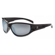Skullerz® Njord Safety Glasses/Sunglasses, Black Frame, Silver Mirror Lens Color