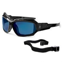Skullerz® Loki Safety Glasses/Sunglasses, Black Frame, Blue Mirror Lens Color