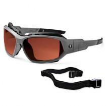 Skullerz® Loki Safety Glasses/Sunglasses, Matte Gray Frame, Polarized Copper Lens Color