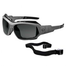 Skullerz® Loki Safety Glasses/Sunglasses, Matte Gray Frame, Anti-Fog Smoke Lens Color