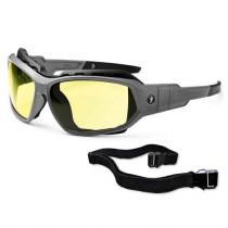 Skullerz® Loki Safety Glasses/Sunglasses, Matte Gray Frame, Yellow Lens Color