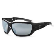 Skullerz® Baldr Safety Glasses/Sunglasses, Black Frame, Silver Mirror Lens Color