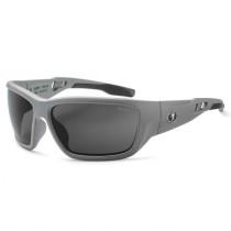 Skullerz® Baldr Safety Glasses/Sunglasses, Matte Gray Frame, Polarized Smoke Lens Color