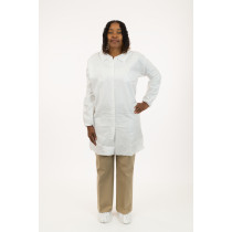 International Enviroguard MicroGuard CE® Clean Processed Microporous Lab Coat, No Pockets, Tunnelized Elastic Wrist, Bound Collar, Bulk Packed