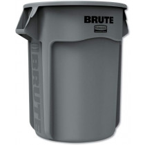 Rubbermaid Round Brute Container, 55 Gal, Gray
