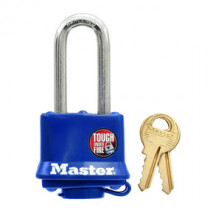 1-9/16 in Wide Covered Laminated Steel Pin Tumbler Padlock w/ 2 in Shackle, Blue