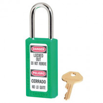 Zenex™ Thermoplastic Safety Padlock, Keyed Different, 1-1/2 in Shackle, Green