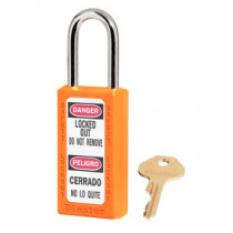 Zenex™ Thermoplastic Safety Padlock, Keyed Different, 1-1/2 in Tall Shackle, Orange