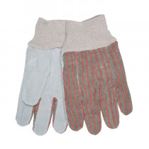 Memphis 1030 Economy Grade Leather Palm Gloves -  L -  Cow Skin Leather Palm -  Gray -  Red/Gray Stripes -  Cow Skin Leather