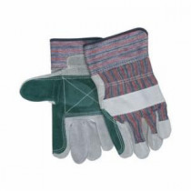 Memphis 1311J Double Palm Leather Palm Gloves -  L -  Cow Skin Leather Palm -  Gray -  Blue/Red/Black Stripes -  Cow Skin Leather