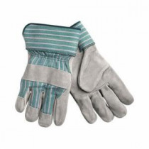 Memphis 1350 Leather Palm Gloves -  L -  Cow Skin Leather Palm -  Gray -  Green/Pink Stripes -  Cow Skin Leather