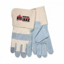 Memphis 1716 Double Palm Premium Grade Leather Palm Gloves -  XL -  Cow Skin Leather Palm -  Gray/White -  Cow Skin Leather