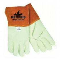Memphis 4952 Premium Grade Welding Gloves -  M -  Leather Palm -  Beige -  Standard Finger -  Wing Thumb -  Cowskin Leather