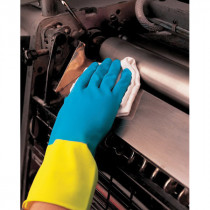 Memphis 5400S Double Dipped Industrial Grade Chemical Resistant Gloves With Black Logo -  XL -  Latex Palm -  Yellow/Blue