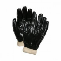 Memphis 6100 Industrial Grade Single Dipped Supported Coated Gloves -  L -  PVC Palm -  Black/White -  PVC