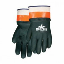 Memphis 6410SC Double Dipped Premium Grade Supported Coated Gloves -  L -  PVC Palm -  Hunter Green/Hi-Vis Orange/White -  PVC