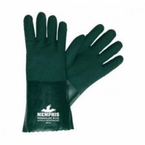 Memphis 6414 Double Dipped Premium Grade Supported Coated Gloves -  L -  PVC Palm -  Hunter Green/White