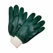Memphis 6420 Double Dipped Industrial Grade Supported Coated Gloves -  L -  PVC Palm -  Hunter Green/White -  PVC