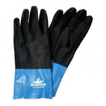 Memphis 6964 Double Dipped Industrial Grade Coated Gloves -  L -  Neoprene Palm -  Blue/Black -  Standard Finger -  Wing Thumb