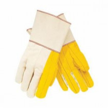Memphis 8516G Multi-Purpose Regular Weight Chore Gloves -  L -  Fleece Quilted Palm -  Yellow -  Cotton Canvas