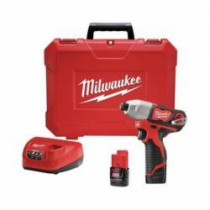 Milwaukee® M12™ Cordless Impact Driver Kit -  1/4 in Hex Drive -  0 - 3300 ipm -  1000 in-lb Torque -  12 V (Kit)