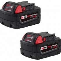 Milwaukee® M18™ Rechargeable Cordless Battery Pack 2 per PK -  5 Ah Li-Ion Battery -  18 V