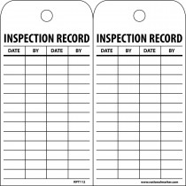 NMC™ RPT112 Inspection Tag 25 per PK -  6 in H x 3 in W -  Black/White -  3/8 in Hole -  Unrippable Vinyl