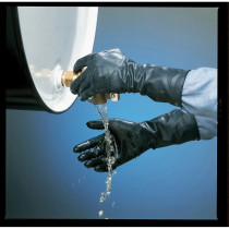 North® by Honeywell B161R-9 Sanitized Interior Unsupported Chemical Resistant Gloves -  SZ 9 -  Grip Saf Palm -  Black -  Butyl