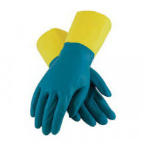 Assurance® 52-3670 Double Dipped Unsupported Chemical Resistant Gloves -  L -  Blue/Yellow -  Raised Diamond Grip