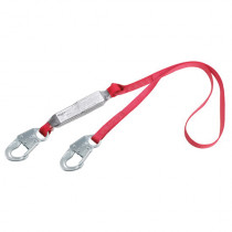 3M™ Protecta Fall Protection Pro™ Pack Fixed Shock Absorbing Lanyard - 130 - 310 lb Load - 3 ft L - Snap Hook - Red/Gray