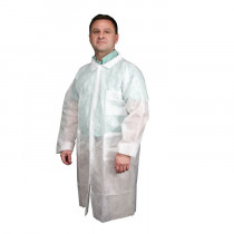 River City 12WPL Light Weight Disposable Lab Coat 25 per CS -  L -  White -  54 in Chest x 43 in L -  Men's -  Polypropylene